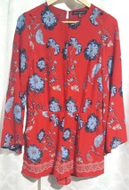 Jasmine & Juliana Womens Red Floral Romper bell sleeves Size 2 Lined Dressy - $28.02