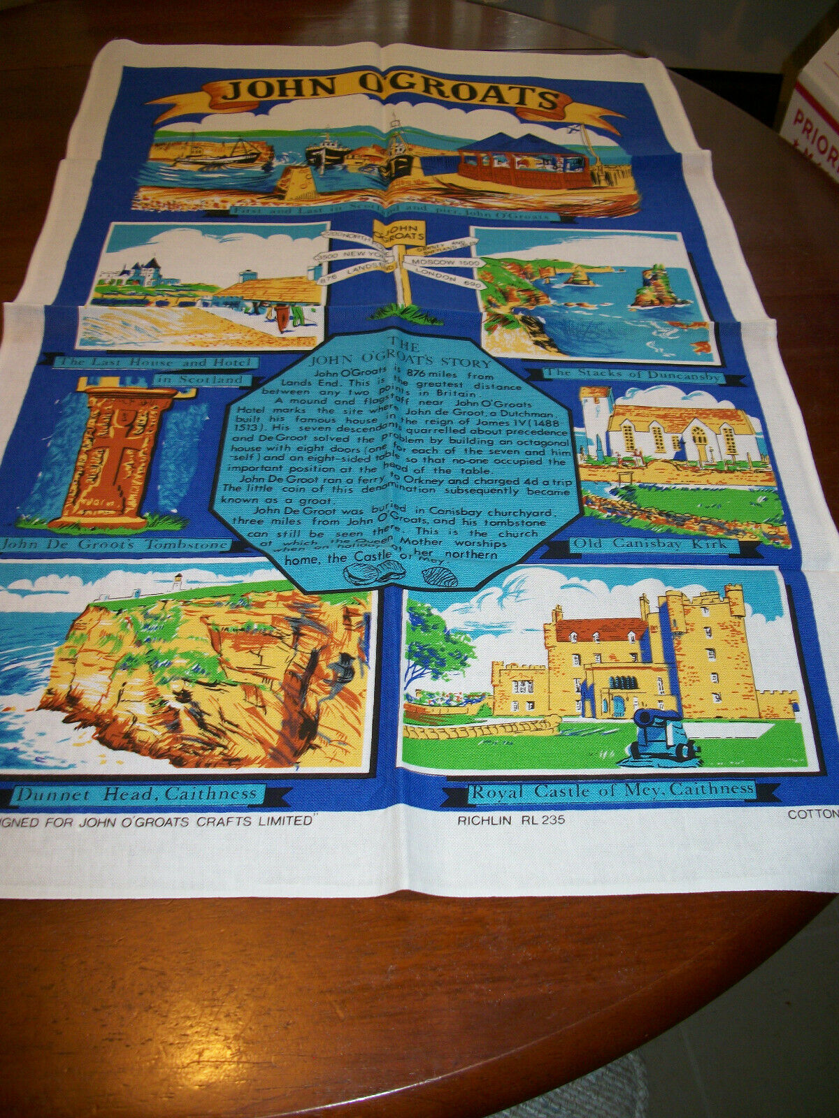 LOT 2  Vintage NWOT  Cotton Kitchen Tea  Towel UK souvenir image 3