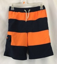 Boys Gap Kids Striped Swim Trunks Large Orange Navy Blue - $9.74