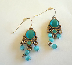 STUNNING VINTAGE ESTATE TURQUOISE CAT'S EYE CHANDELIER SILVER TONE EARRINGS - $3.00