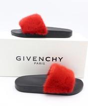 NIB GIVENCHY Paris Red Mink Fur Slide Sandals Flats New 8 38 $595 - $325.00