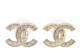 Authentic Chanel XL Large CC Crystal Gold Stud Earrings MINT