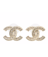 Authentic Chanel XL Large CC Crystal Gold Stud Earrings MINT - $439.99