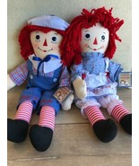 "Hasbro Raggedy Ann And Andy Dolls Stuffed Plush Doll 24"" New With Tags - $98.99"