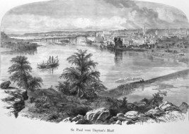 ST. PAUL Minnesota View from Dayton's Bluff - 1883 German Print - $21.60