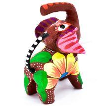 Handmade Alebrijes Oaxacan Painted Wood Folk Art Miniature Elephant Figurine image 5