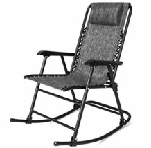 Outdoor Folding Rocking Chair Patio Gray Zero Gravity Sling Back Camp Fu... - $74.99