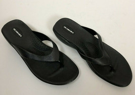 Okabashi Black Flip Flop Sandals Thong Black Wedge Women's Size ML - $15.99