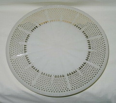 Anchor Hocking Line W100 Ivory Milk Glass Gold Decorated Low Cake Stand - $19.75
