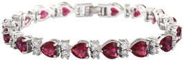 SELOVO Bracelet Tennis Chain Rose Red Heart Cubic Zirconia Silver Tone 7... - $38.20