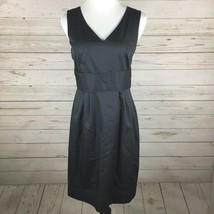 Ann Taylor Loft Sheath Dress Womens Size 8 Gray Sleeveless Cotton Career  - $29.99