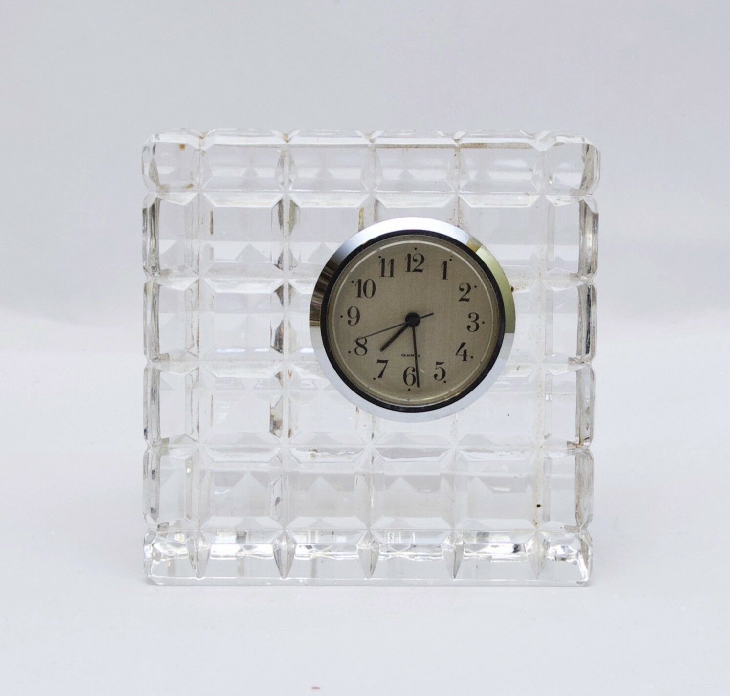 Primary image for Vintage Waterford Cut Crystal Cube Square Desk Table Clock Marked