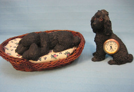 2 Poodle Dog Figurines Statue Sitting - Clock Lying - Sandicast Black Small - $22.25