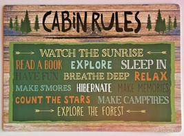 Cabin Rules Placemats Set of 4 Vinyl Log Cabin Camp Hunting Lake Lodge H... - $26.04
