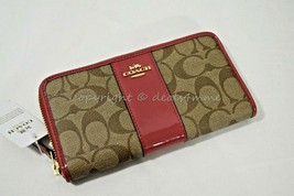 NWT Coach F35443 Accordian Zip Wallet in Signature Canvas in Khaki/True Red - $139.00