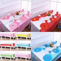 Polka Dot Plastic Disposable Tablecloth Waterproof Party Wedding Birthda... - $4.99