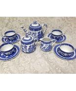 Vintage, Rare, Ridgway England, 13-pc Blue Willow Demitasse Tea Set for 4 - $379.95