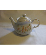Teapot White Porcelain Flower Motifs And Gold Trim Hold 4 Cups Liquid Ro... - $69.29