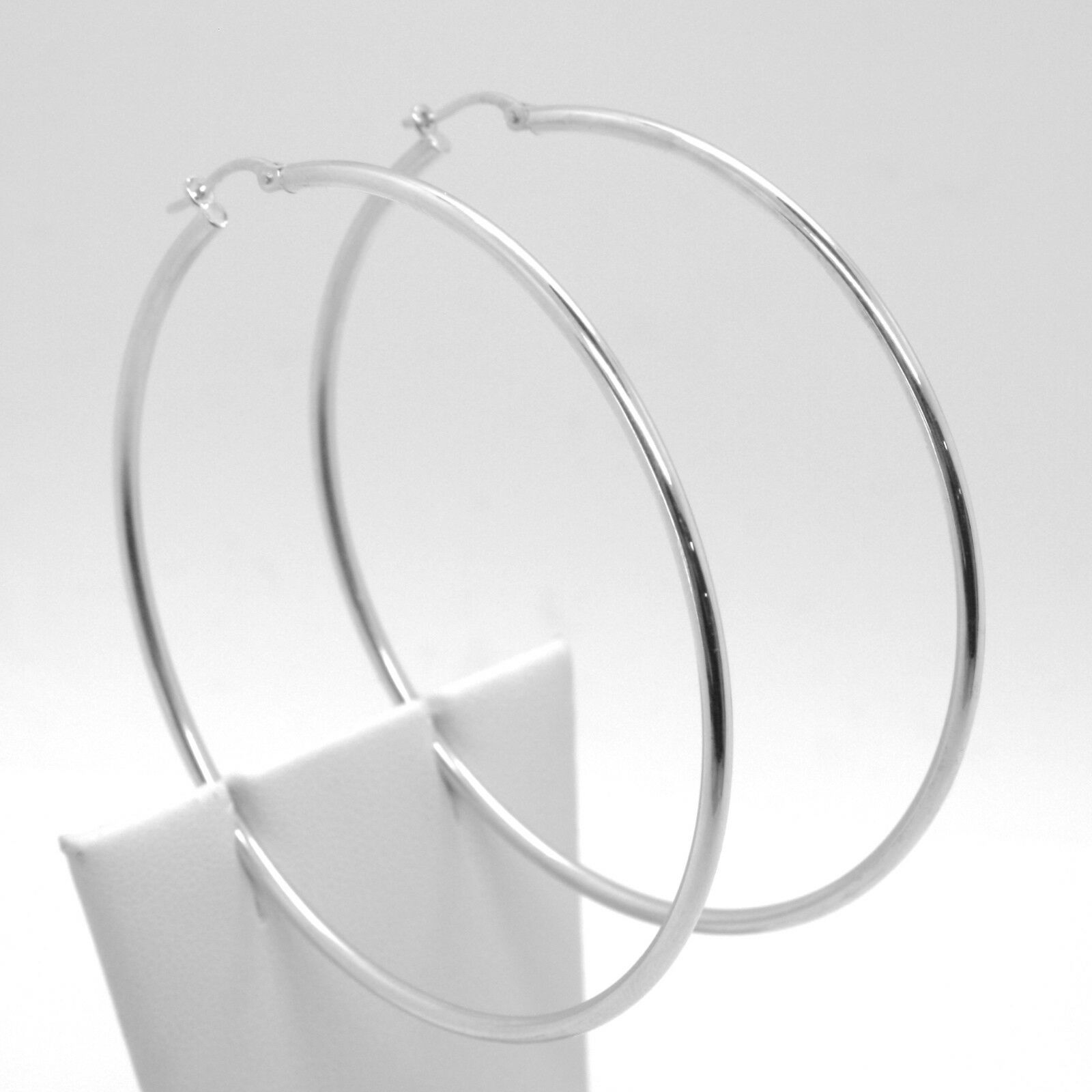 18K WHITE GOLD ROUND CIRCLE EARRINGS DIAMETER 60 MM, WIDTH 2 MM, MADE IN ITALY