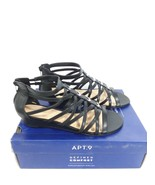 Apt 9 Black Strappy Roman Gladiator Opportunity Wedge Sandal Size 8.5 W - $32.25
