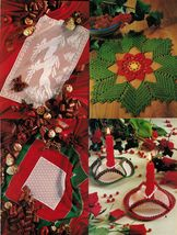Xmas Reindeer Mat Table Topper Poinsettia Doily Candle Holders Crochet P... - $8.99