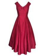 80s does 50s Vtg 100% Silk Monsoon Twilight Coral Red Full Skirt Swing D... - $110.00