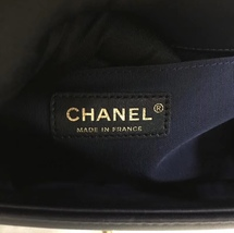 100% AUTHENTIC CHANEL NAVY BLUE QUILTED LAMBSKIN MEDIUM BOY FLAP BAG GHW image 6