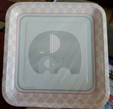 """Little P EAN Ut Elephant Baby Girl Shower Party 10 1/4"""" Square Banquet Plates - $9.74"""