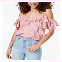 Gypsies & Moondust Juniors' Relaxed Fit Ruffled Gingham Off-The-Shoulder Blouse - $11.07+