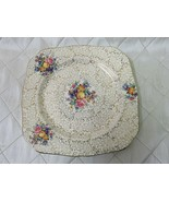 """HK Tunstall England Square Floral Fruit Plate Chintz Gold Gilt 9"""" Vtg Tray - $17.34"""