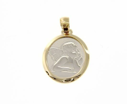 18K YELLOW WHITE GOLD PENDANT OVAL MEDAL GUARDIAN ANGEL ENGRAVABLE MADE IN ITALY