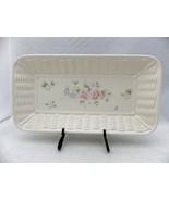Pfaltzgraff Tea Rose pattern - rectangular basket weave Bread Plate/Tray... - $7.43