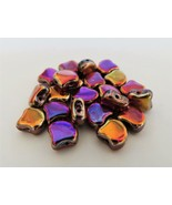 20 7.5 x 7.5 mm Czech Glass Matubo Ginkgo Leaf Beads: Jet - Full Sliperit - $1.85