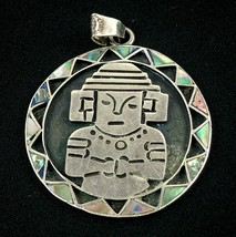 """Vtg Taxco Mexico Sterling Silver Inlay Pendant Round Aztec Mayan 2"""" Sign... - $44.99"""