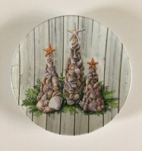 "Christmas Nautical Appetizer Tidbit Melamine Plates 6"" set of 4 Beach Sh... - $25.84"