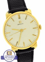 Vintage Omega 14K Yellow Gold Manual Hand-Winding 34mm Silver Black Strap Watch - $1,038.77