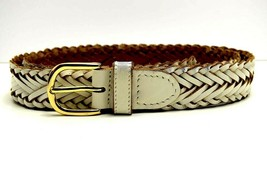 Marks and Spencer M&S Womens Braided Leather Belt White Size M - $15.33