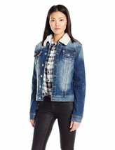 New True Religion Women's Premium Western Dusty Denim Sherpa Jacket WD080ZI7