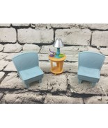 Fisher Price Loving Family Blue Chairs And End Table - $13.86