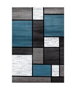 OSTI Modern Boxes Blue/Black/Grey Contemporary Indoor Area Rug 5'3 x 7'3 - $71.34