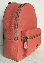 New Coach 30550 Medium Charlie Pebble Leather Backpack Coral - $135.00