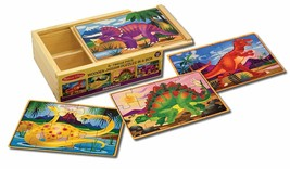Melissa & Doug Wooden 4-In-1 Jigsaw Puzzles DINOSAURS Storage Display Box New - $29.04