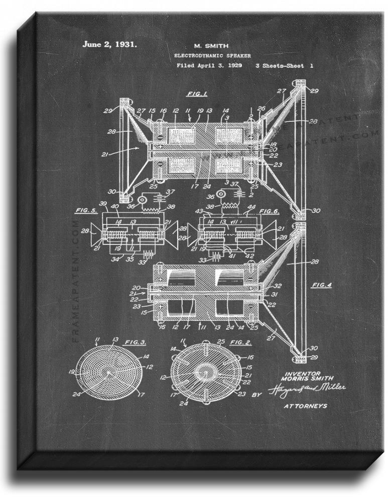Primary image for Electrodynamic Speaker Patent Print Chalkboard on Canvas