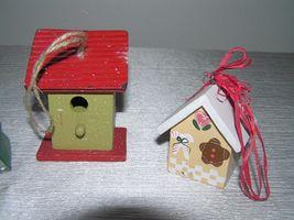 Vintage Lot of 3 Red & Cream Painted Wood & Metal Checkboard Roof Gingerbread  image 3