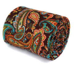 Frederick Thomas brown paisley cotton linen design tie FT1934