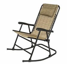 Folding Rocking Chair Lawn Patio Zero Gravity Sling Back Outdoor Camp Fu... - $74.99