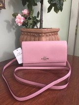 New Coach Crossbody Wallet Bag 65558 Smooth Pink  Leather Flap Phone B15 - $98.95