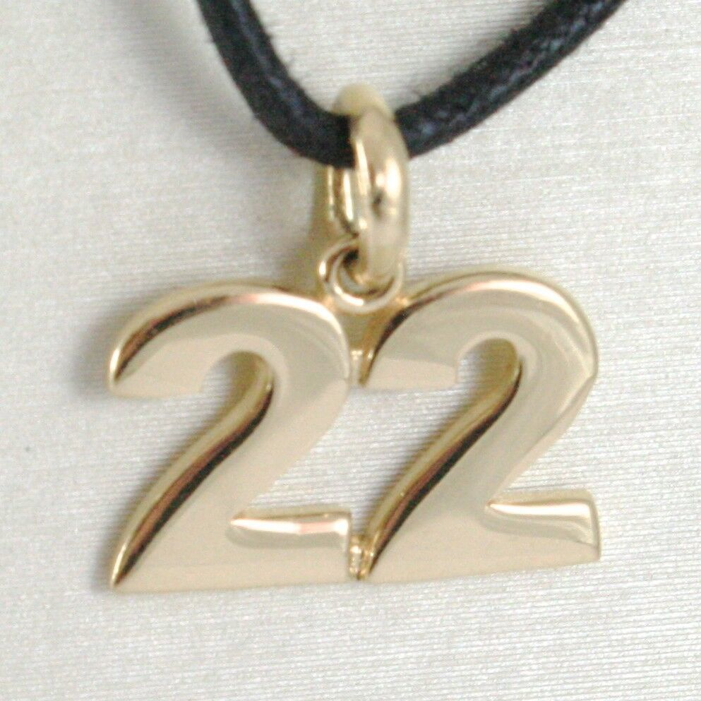 18K YELLOW GOLD NUMBER 22 TWENTY TWO PENDANT CHARM .7 INCHES 17 MM MADE IN ITALY