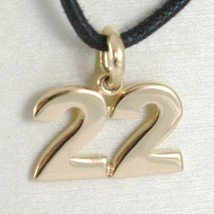 18K YELLOW GOLD NUMBER 22 TWENTY TWO PENDANT CHARM .7 INCHES 17 MM MADE IN ITALY image 1