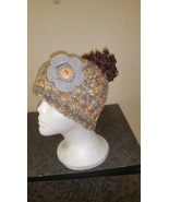 Yellow & Gray Mix Messy Bun HandmadeCrochet Hat/Pony Tail Beanie - $18.00